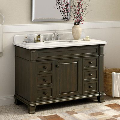Base Finish   Dark Chocolate  Top Finish   Alpine Mist  Hardware Finish    Black  Base Material   Wood  Top Material   Stone  Hardware Mater More. Kingsley 48  Single Bathroom Vanity Set   Home  Hardware and