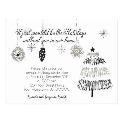 Black and Silver Christmas Holiday Party Invite Postcard Weddings