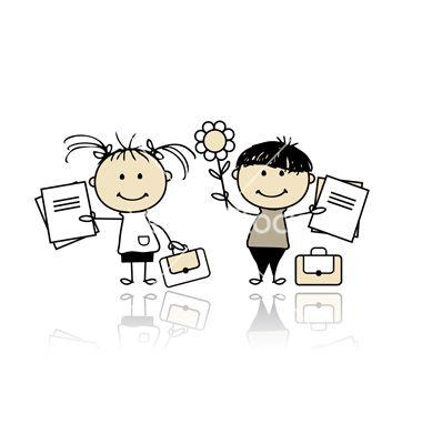 Children with school books vector 676898 - by Kudryashka on VectorStock®