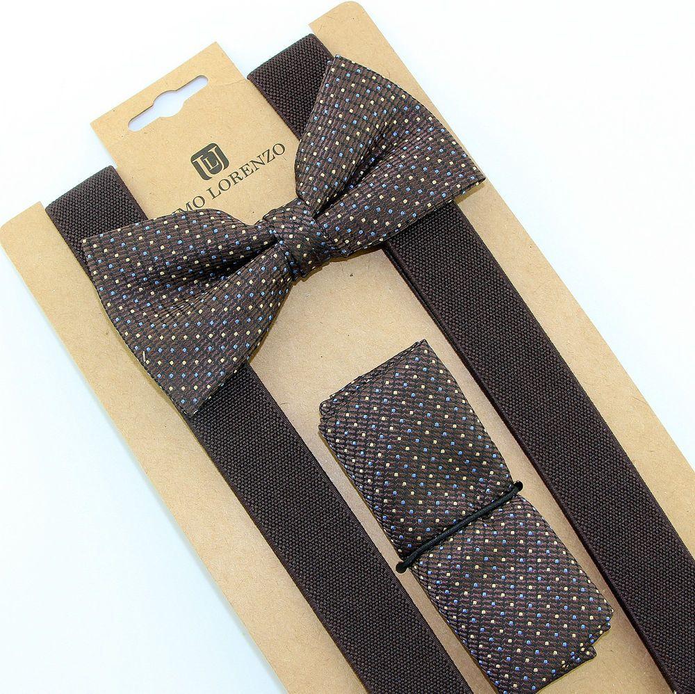 New Y back Men/'s Suspenders Bowtie Hankie Stripes Glitter Royal Blue