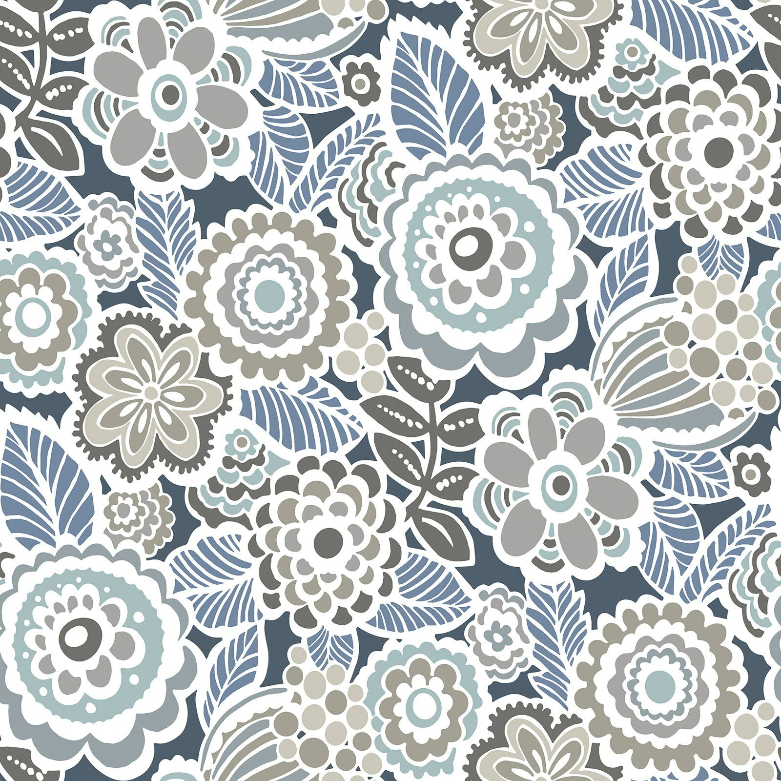 Midnight Floral Removable Fabric Wallpaper Peel and