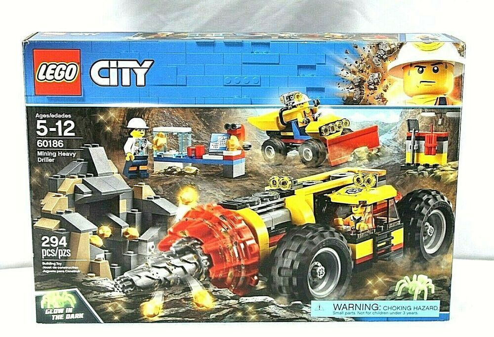 LEGO CITY 60186 Mining Heavy Driller 294 Pieces Glow in
