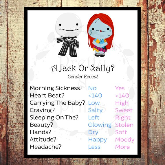 A Jack Or Sally Gender Reveal Game Baby Shower Game Instant Download Print At Hom Halloween Gender Reveal Gender Reveal Games Baby Gender Reveal Party