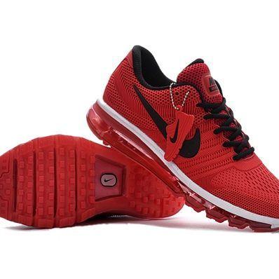 Nike Air Max 2017 Men Red Black Logo Running Shoes ...