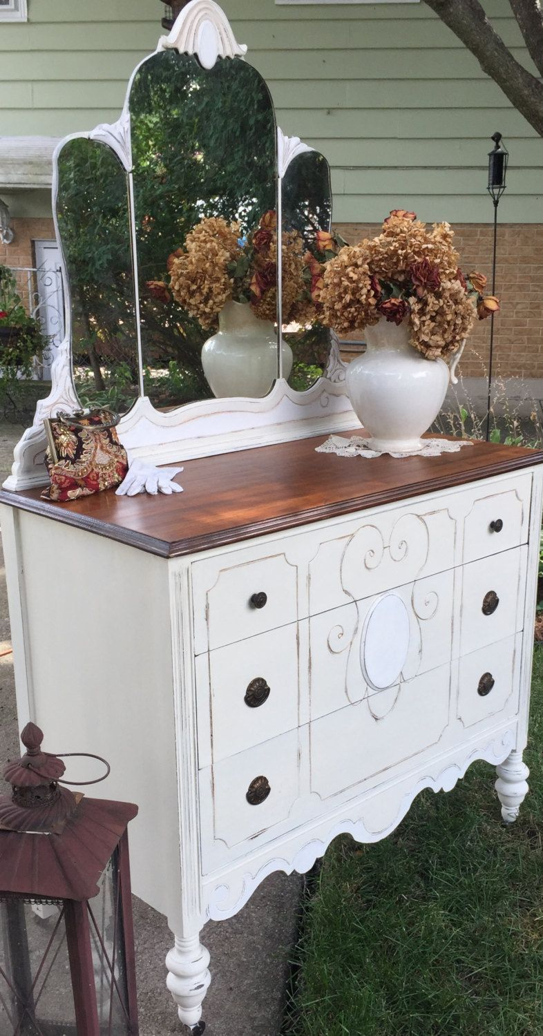shabby chic furniture colors. 1920\u0027s Shabby Chic Dresser With Mirror/Cottage Style/romantic Furniture/neutral Colors By Furniture R