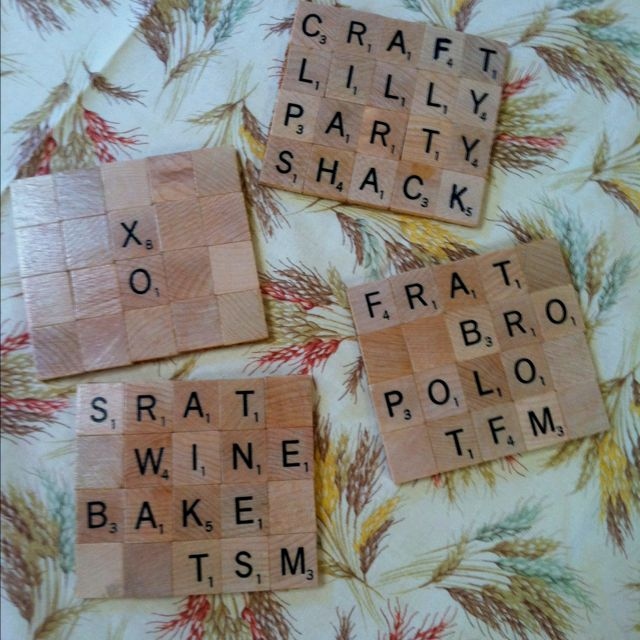 Coasters I made from scrabble tiles and cork board. Sratty Crafting <3