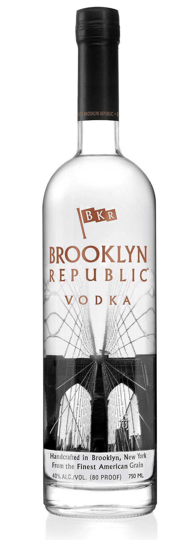 Industry City Distillery. A sugar beet vodka distillery in ... - Brooklyn Republic Vodka Bottle. Love the bridge silkscreen.