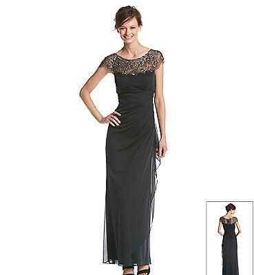 Xscape Long Dress With Illusion Beaded Top | Elder-Beerman | Home ...