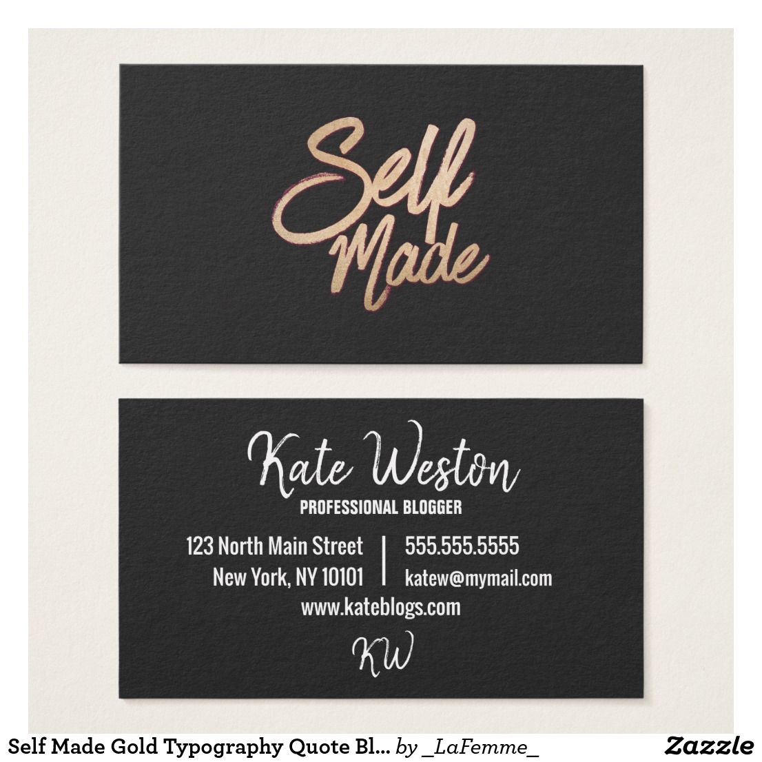 Self Made Gold Typography Quote Black Business Card | Typography quotes