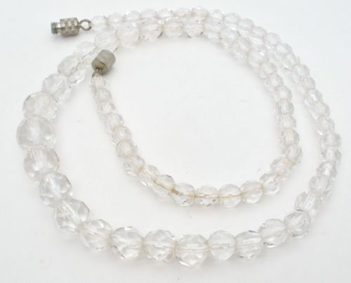 Vintage Clear Crystal Bead Necklace Graduated Faceted 17 inches Long Wedding   eBay