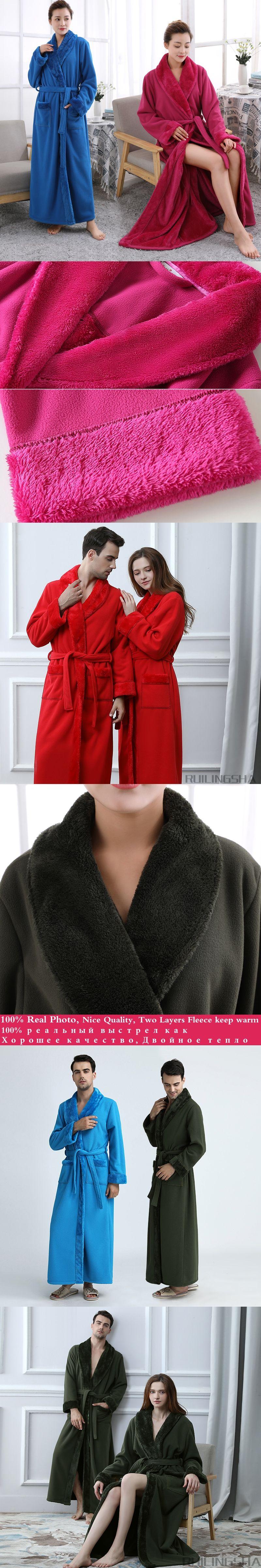 Men Extra Long Thickening Fleece Kimono fur Thermal Bath Robe Male ...