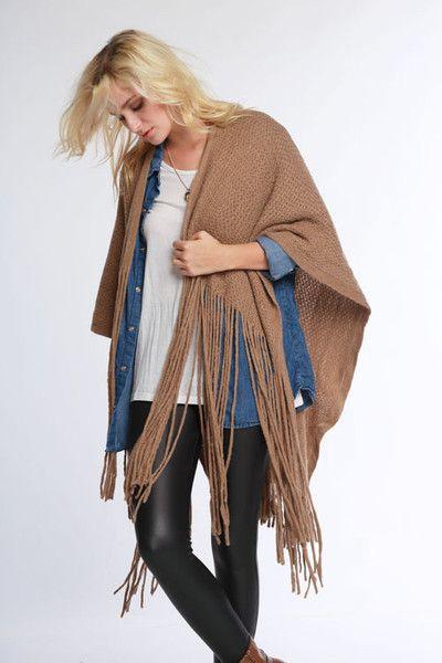 Boho chic soft wool like yarn knit oversized ruana with long fringe hem. 100% Acrylic