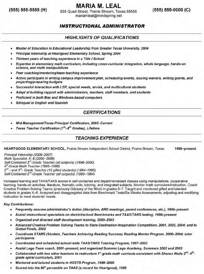 Teacher Resume Objective Ideas Photo resumetipstemplates