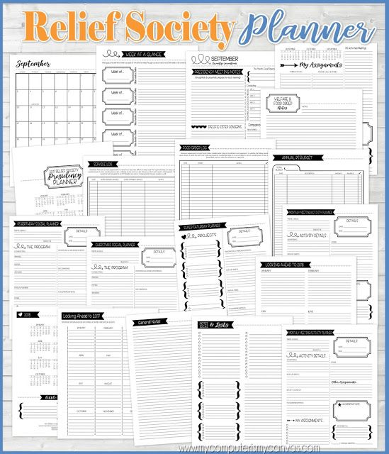 My Computer is My Canvas: {GIVEAWAY} 2017 Relief Society Planner ...