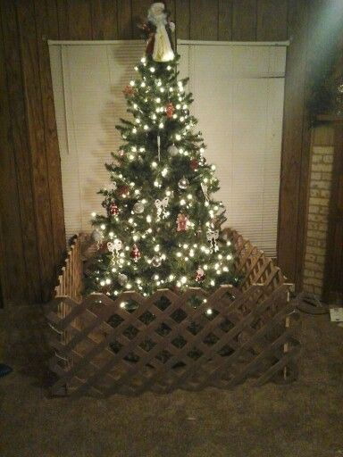 Toddler Proof Your Christmas Tree I Would Decorate The Fence With Ribbons Tying The Corners Together Chris Christmas Tree Fence Christmas Diy Christmas Tree