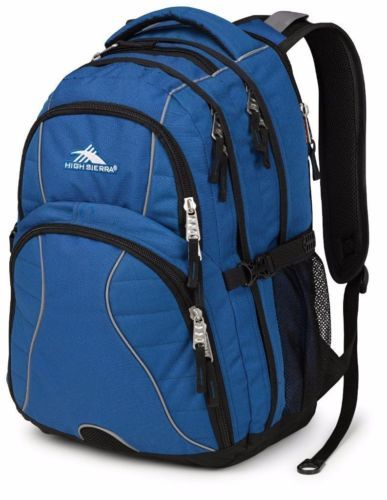 With it's distinctive swerve design and padded computer sleeve, the large High Sierra Swerve day pack will comfortably carry your gear all day long. The multi-compartment design offers a padded computer sleeve with back access that accommodates a 15-inch laptop.
