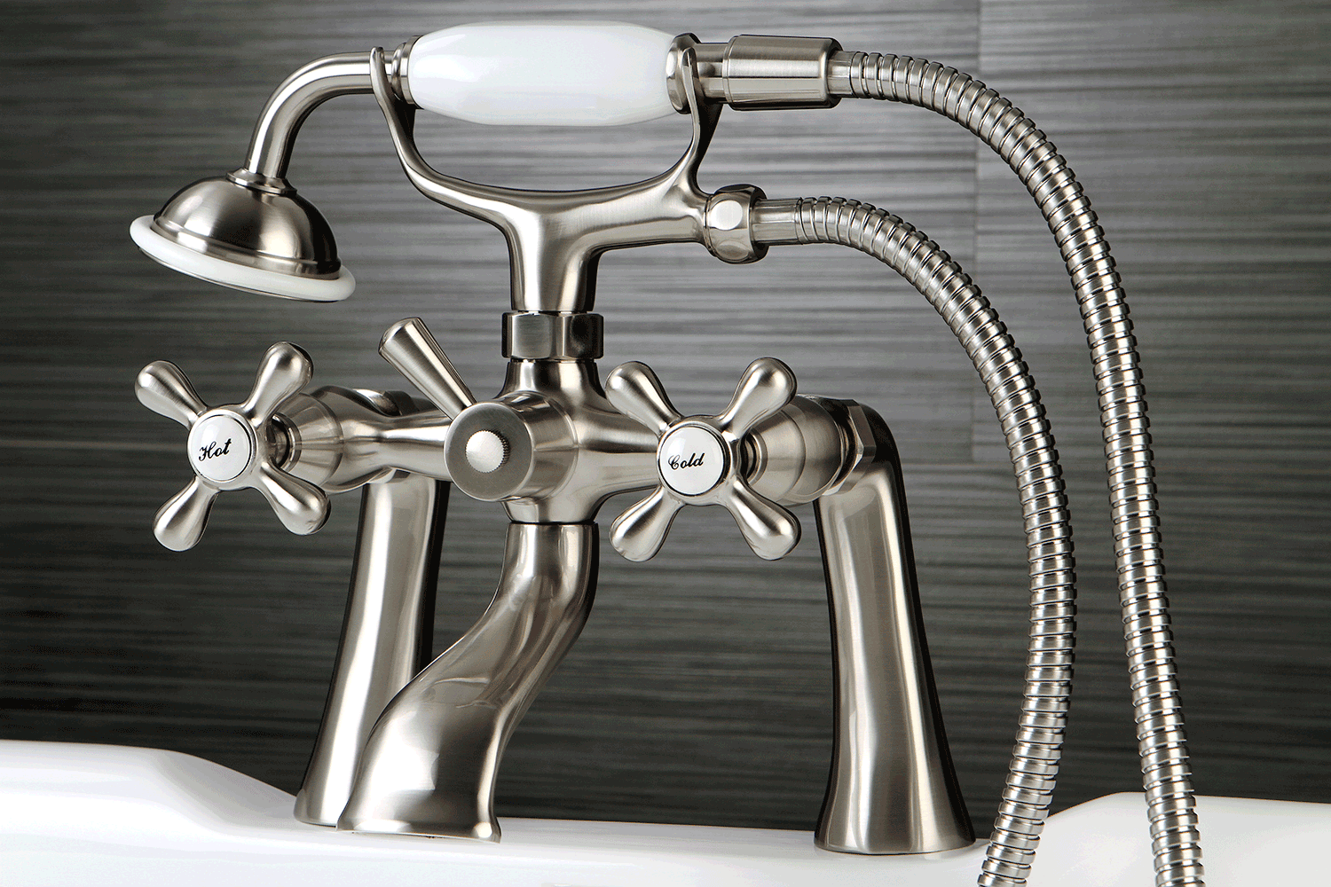 Kingston Brass KS268C Victorian 7-Inch Deck Mount Tub and Shower Faucet, Polished Chrome - Clawfoot Tub - Amazon.com