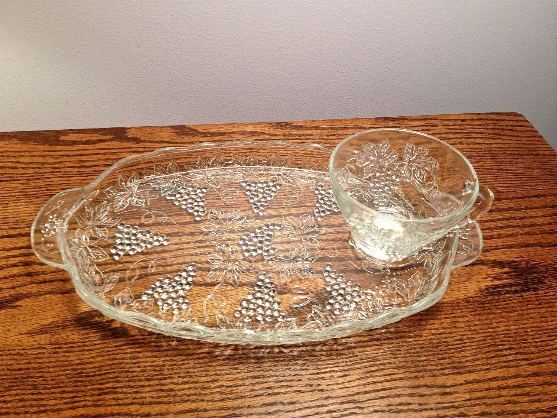Beautiful vintage salt cellars set of 4 - 1 Vintage Clear Glass Grape Design Snack Set Plate And Cup 6 00