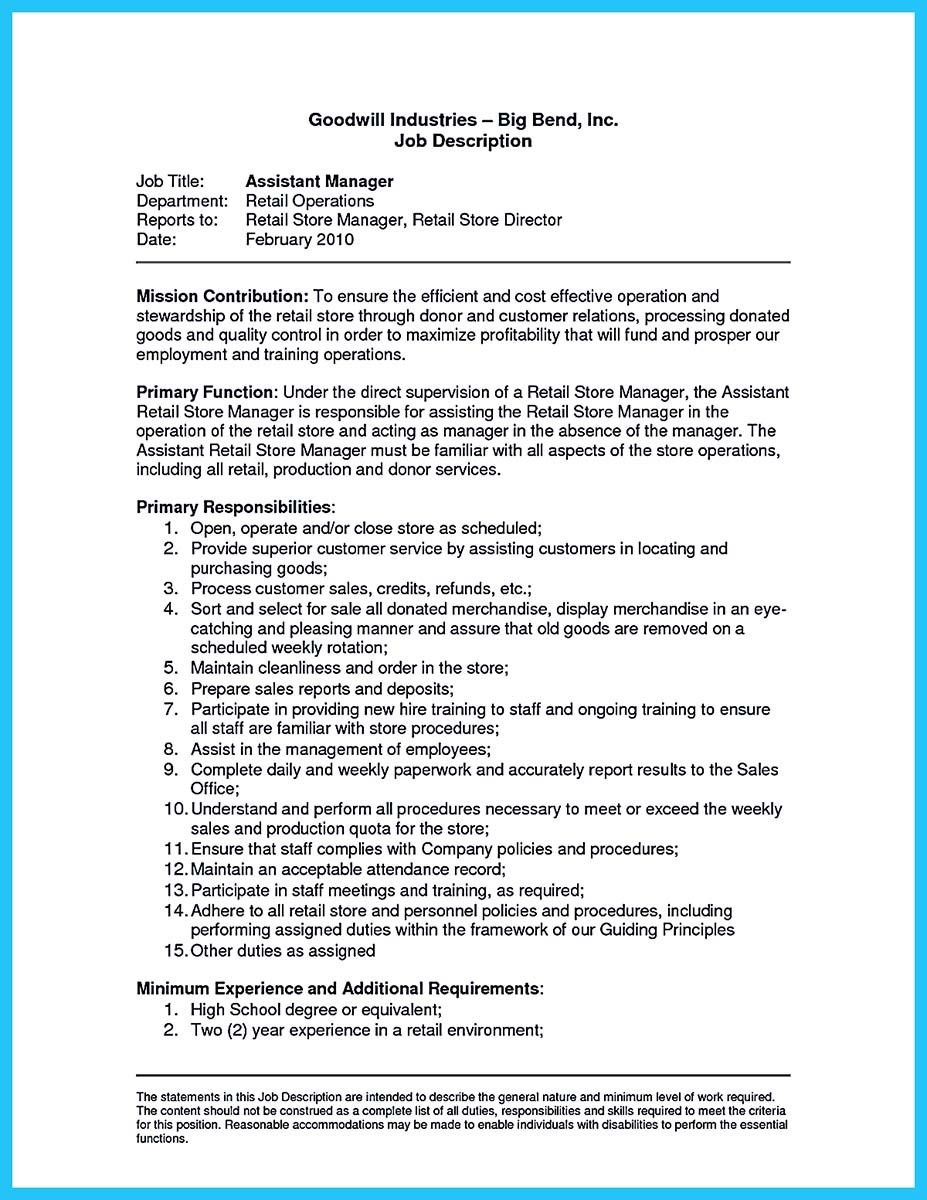cool crafting a great assistant store manager resume