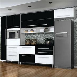 Cozinha Bartira Glamour Com 4 Pecas Branco Preto Cozinha