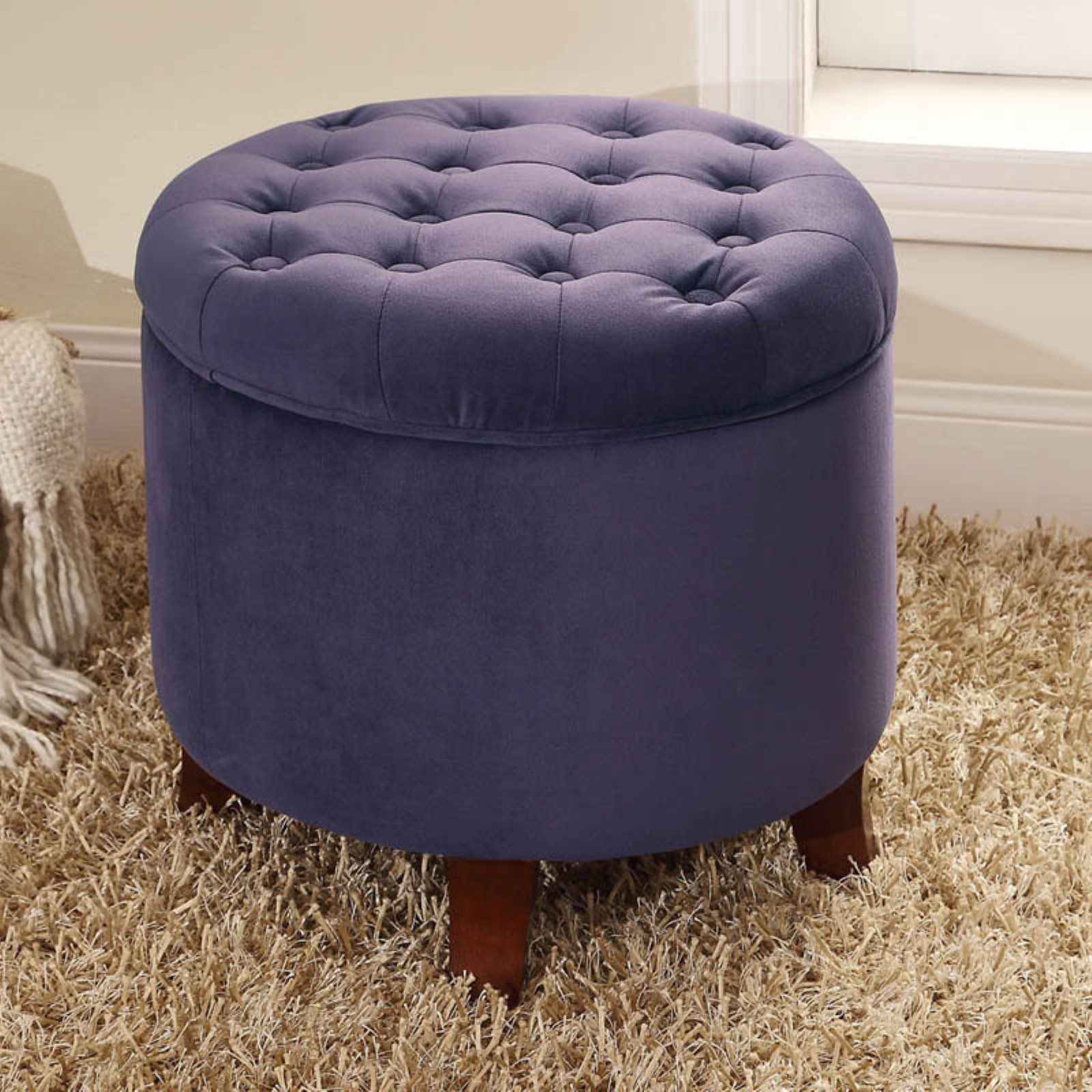 Wondrous Kinfine Round Storage Ottoman Plum Products In 2019 Ncnpc Chair Design For Home Ncnpcorg