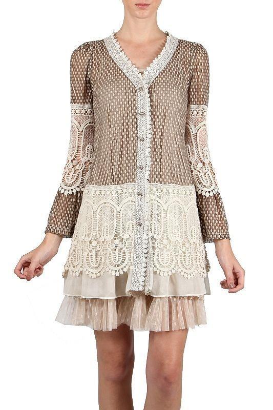 094e31eb3e6ec1 Ryu Anthropologie Brown Crochet embroidered Cardigan Bell Shaped Sleeve S M  L #Ryu #BasicJacket