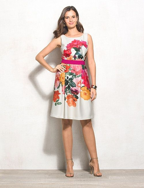 fb92597f47 Floral Scuba Fit-and-Flare Dress