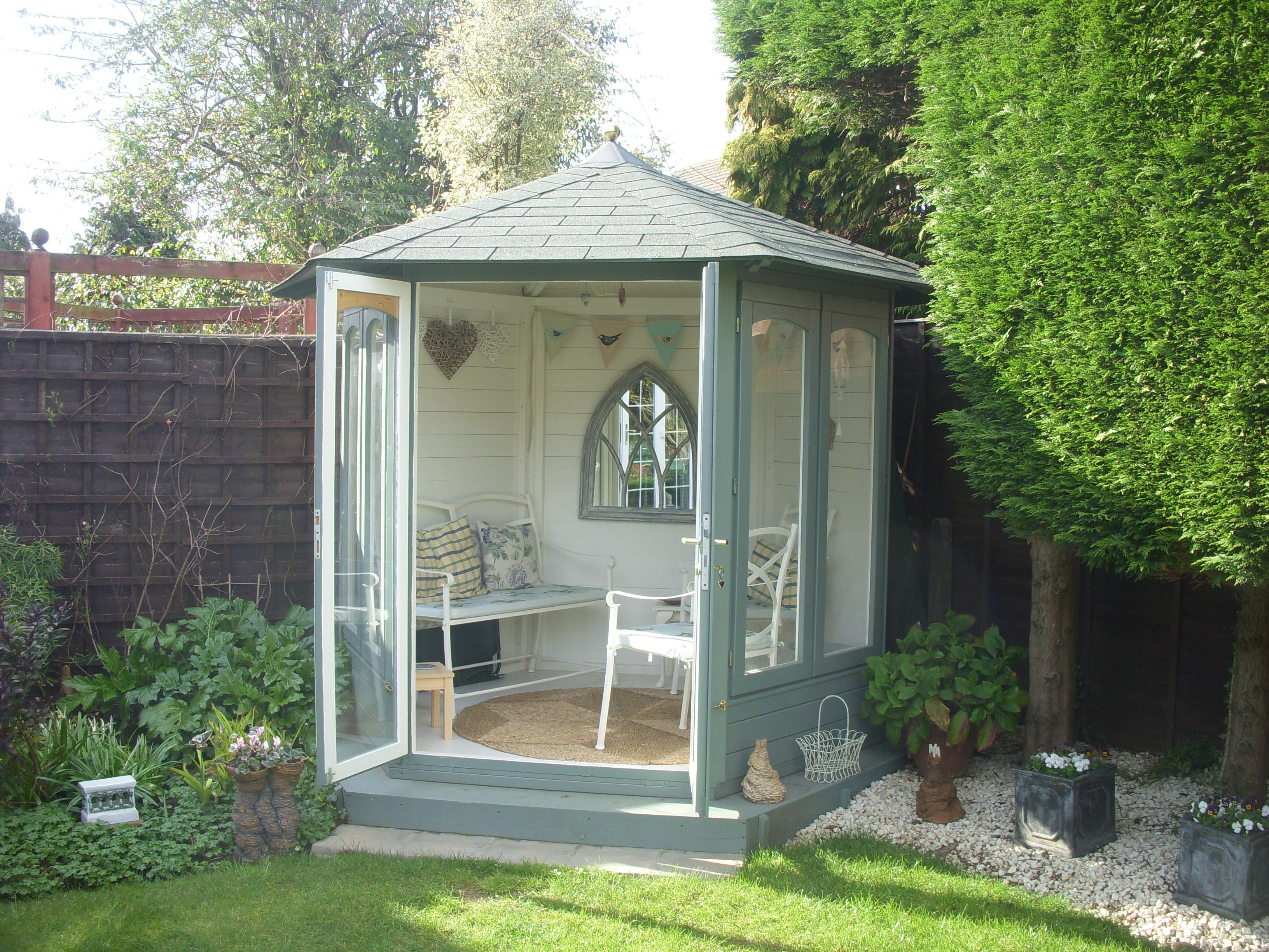 Jan Lets Us Know About Her Summerhouse My Beautiful Green Blue Hexagonal Summerhouse Is My H Summer House Garden Small Summer House Summer House Interiors