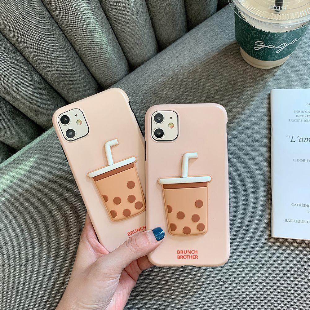 Cute cartoon pearl milk tea 3d embossment phone case cover