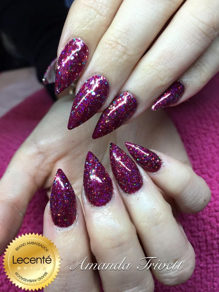 #CND #shellac #red baroness with the NEW #Lecenté #glitter ...