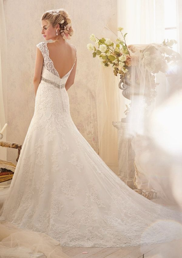 Great Bridal Gown From Mori Lee By Madeline Gardner Style Alen on Lace Appliqu s And Wide Hemline