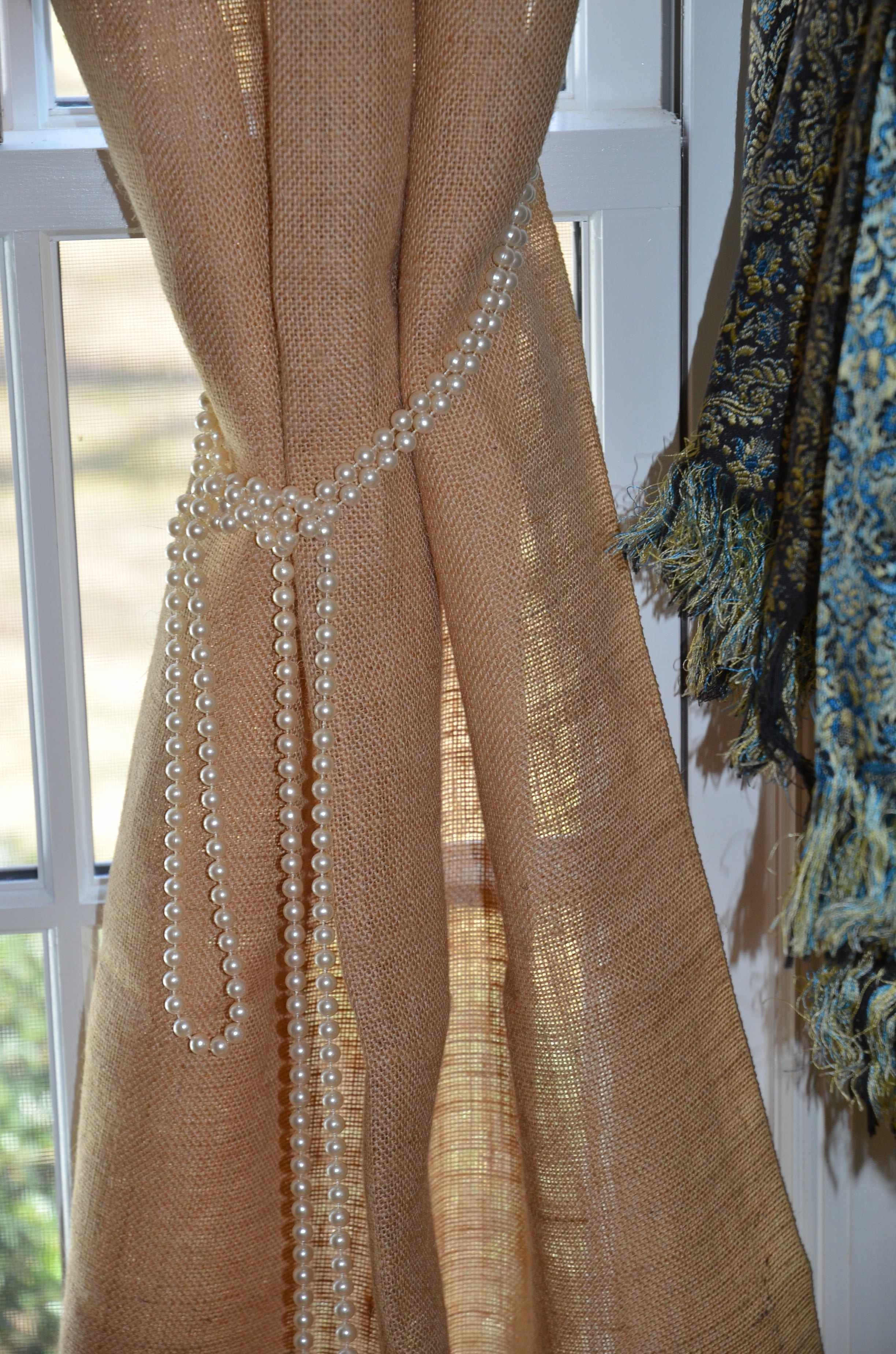 Curtains Drapes Windows Pinterest Cortinas Arpillera Y - Cortinas-de-arpillera