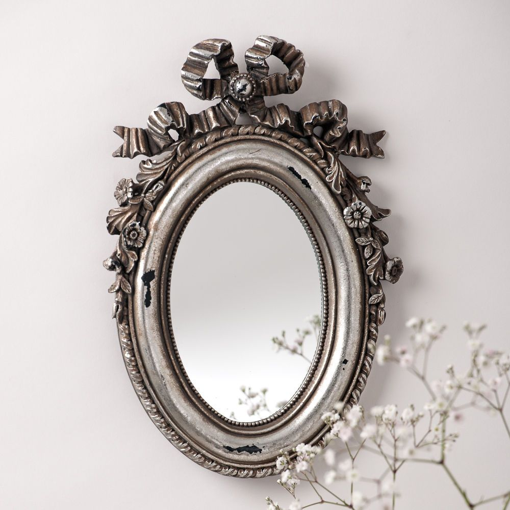 Small Vintage Silver Oval Mirror With Pretty Bow Detail Shabby