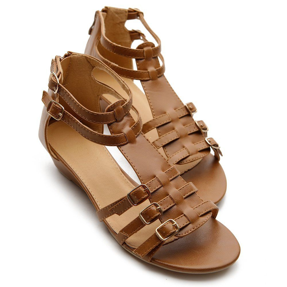 Amazon.com: Ollio Womens Shoes Gladiator Wedge Low Heels ...