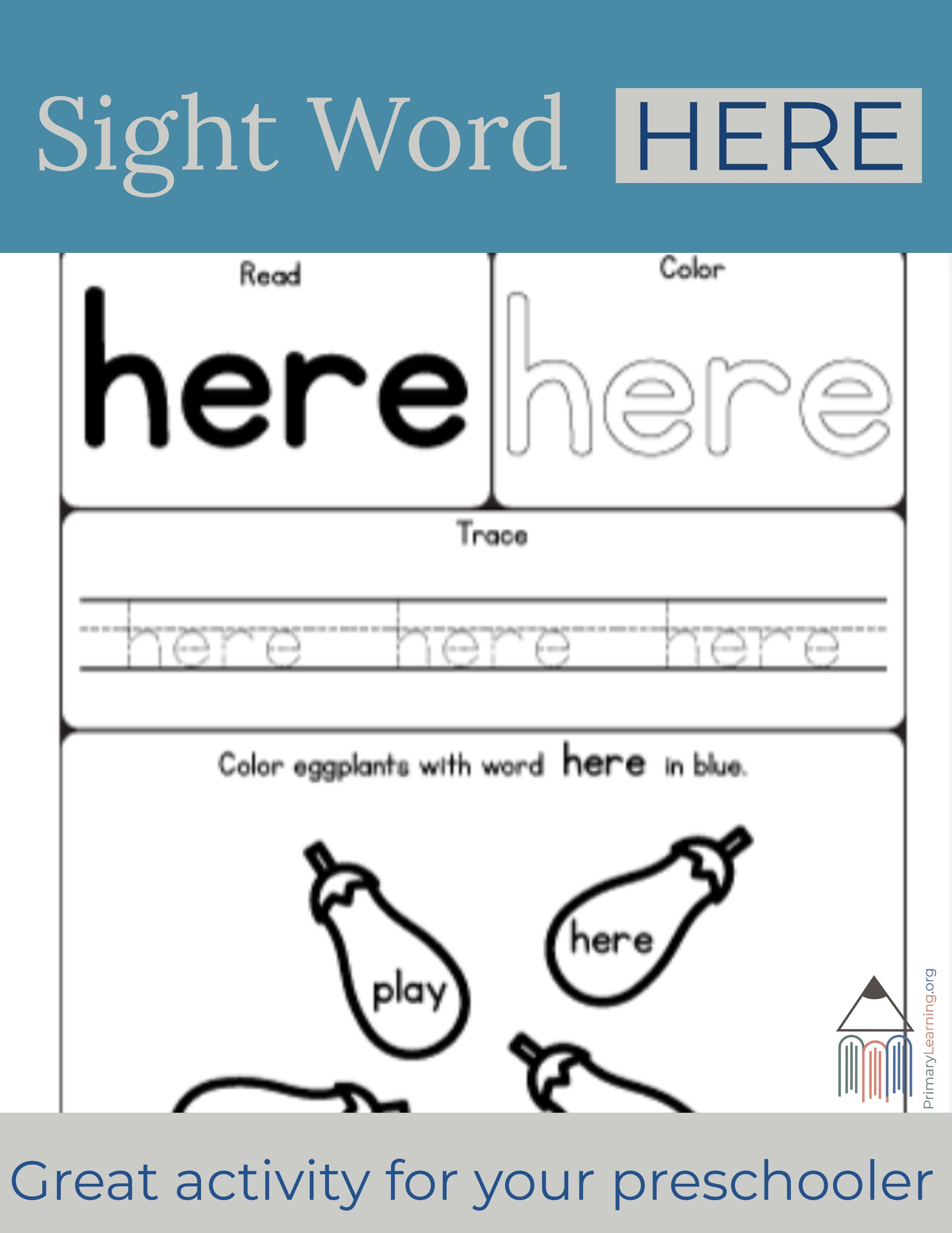 Sight Word Here Worksheet