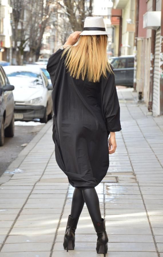 Maxi Black Dress Long Evening Dress Cotton Tunic Dress ...