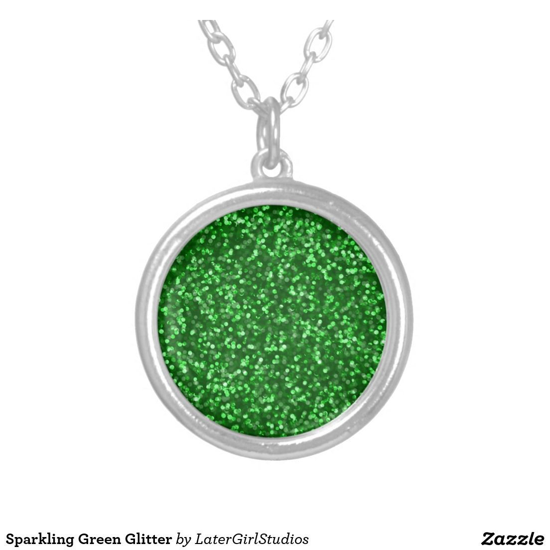 Sparkling Green Glitter Round Pendant Necklace