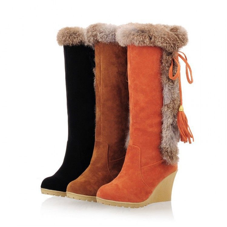 bf2ee5e1984 Buckle Knee High Women Winter Fur Boots Solid Round Toe Women Winter Wedges  Winter Fashion Ladies