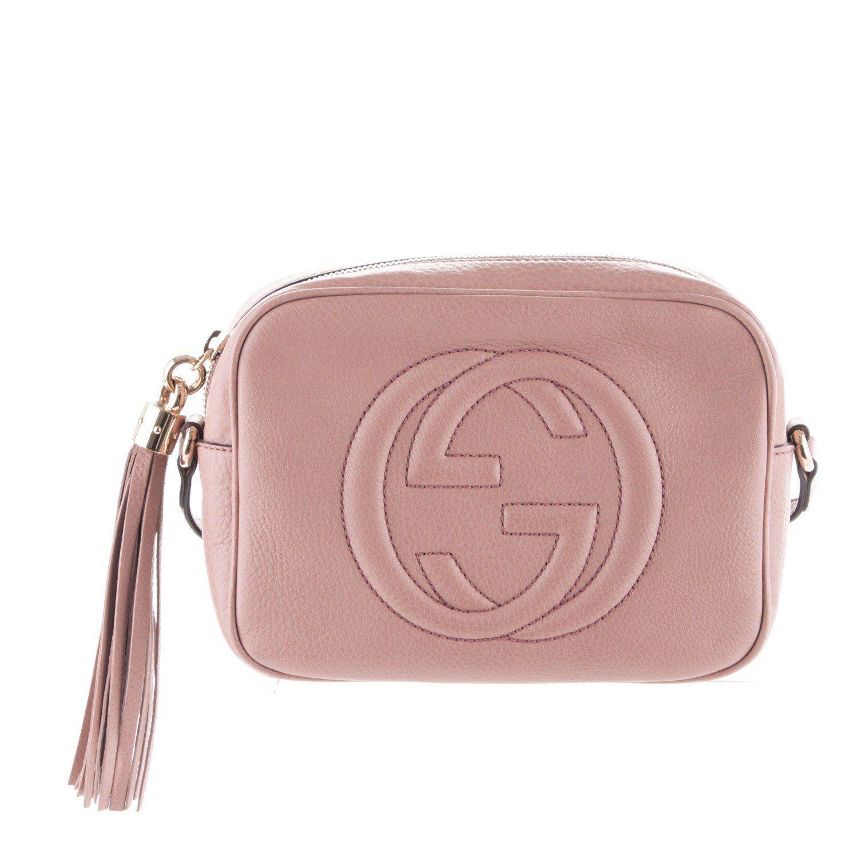1057d2d423b GUCCI Soho Disco Dark Cipria Cinnamon Leather Crossbody Bag New ...