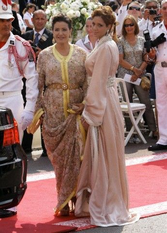 Princess Lalla Meryem of Morocco (L), sister of King Mohammed VI, is arriving for the religious wedding of Prince Albert II and Princess Charlene in the Prince's Palace in Monaco