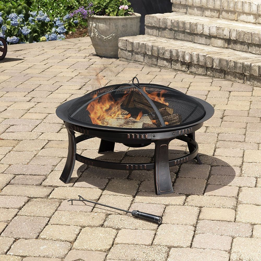 Fire Pit Outdoor Patio Fireplace Round Backyard Heater Wood Burning