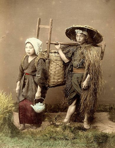 Off To The Fields A Rustic Japanese Farmer And His Wife Japanese Farmer Japanese Village Japanese History