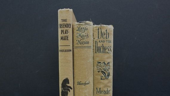 Shabby Cottage Vintage Books / Beige Brown Antique by redladybugz