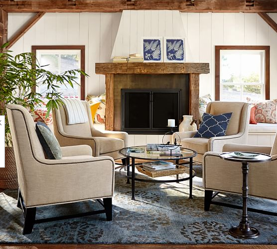 Pottery Barn Living Room Chairs: Pottery Barn Berkeley Wingback Chair & Tanner Round Coffee