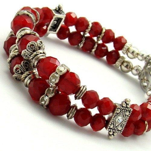 Red Crystal Bracelet Double Strand Jewelry