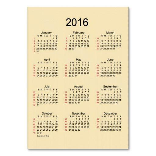52 week calendar 2016 business cards janz place pod designers