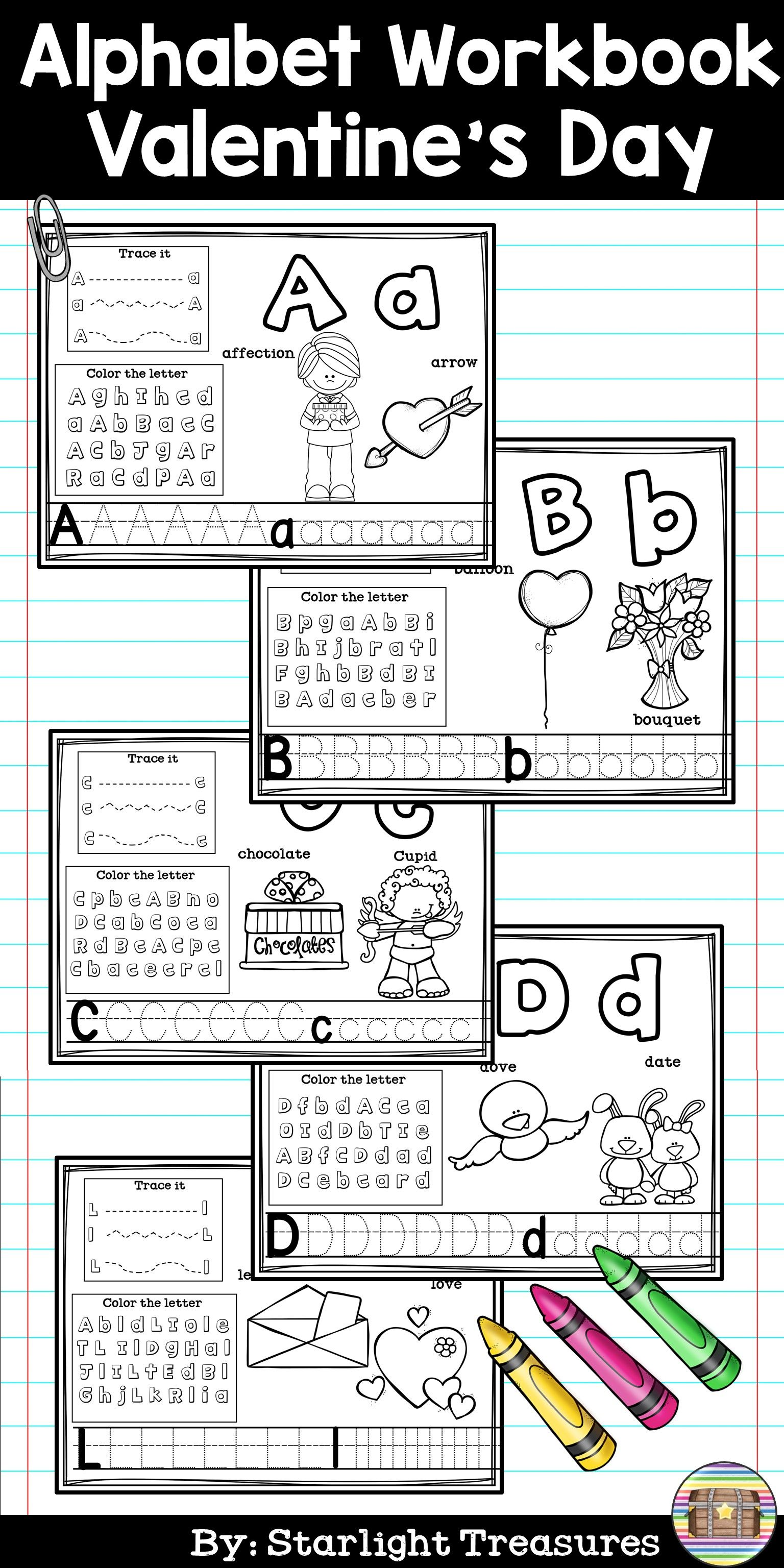 Alphabet Workbook Worksheets A Z Valentine S Day Theme