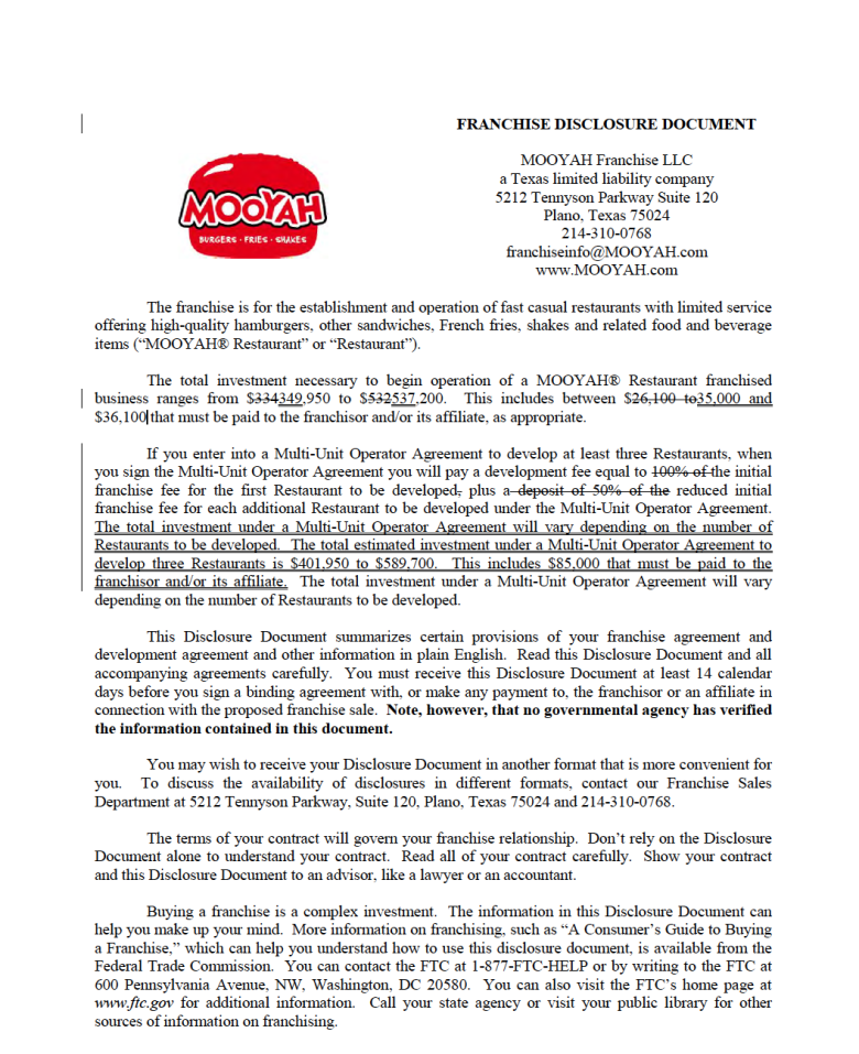 Mooyah Fdd  Franchise Disclosure Document