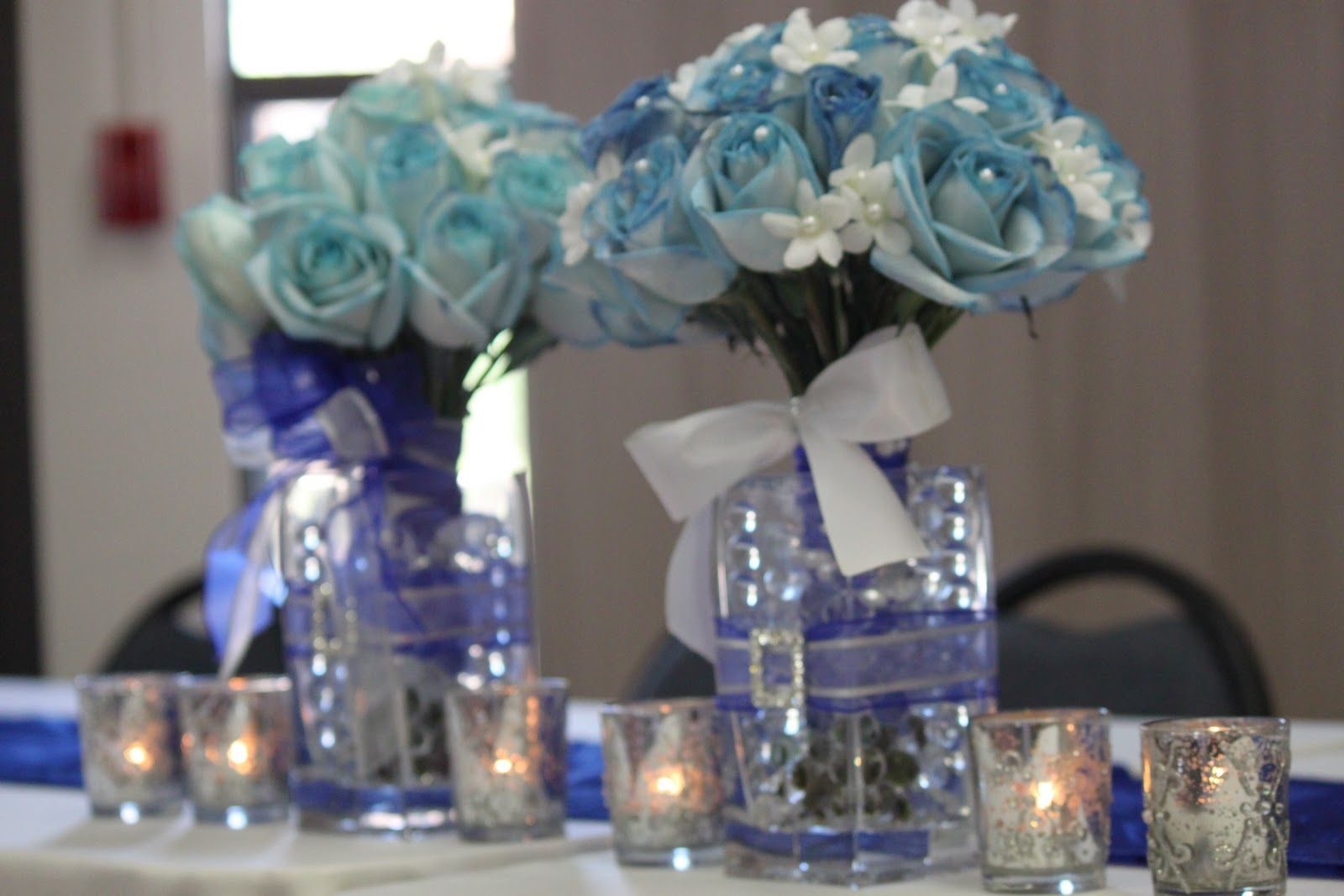 blue and silver centerpiece  Royal Blue and Silver Wedding