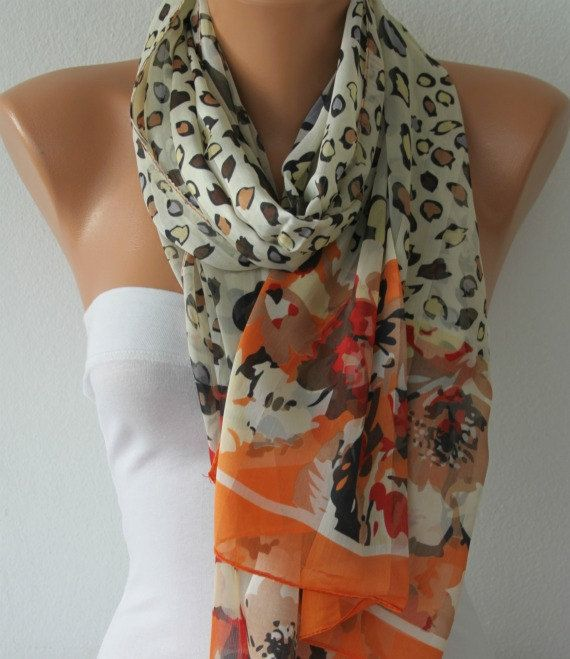 Orange Leopard Scarf